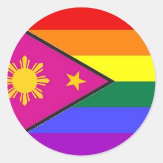 Filipino GLBT Pride Flag Round Sticker