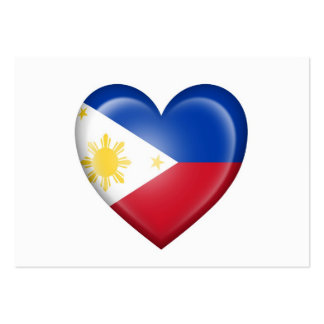 Filipino Heart Flag on White Business Cards