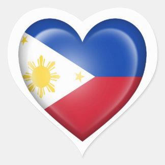 Filipino Heart Flag on White Stickers