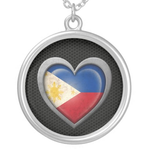 Filipino Heart Flag Steel Mesh Effect Pendant