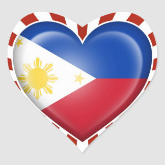 Filipino Heart Flag with Star Burst Heart Stickers