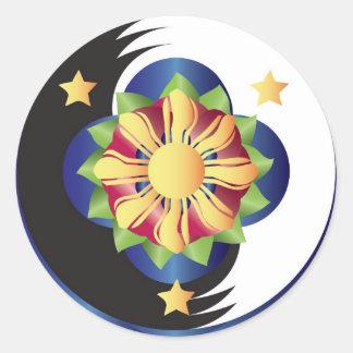 Filipino Lotus Flower Mandala Round Sticker