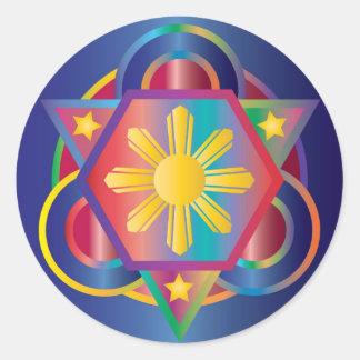 Filipino Rainbow Mandala Round Sticker