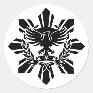 Filipino sun and eagle crest round sticker