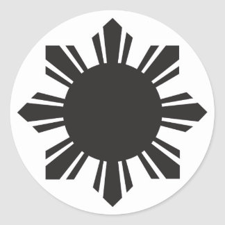 Filipino Sun - Black Round Sticker