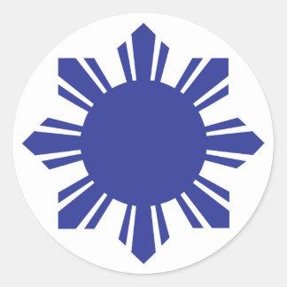 Filipino Sun - Blue Round Sticker