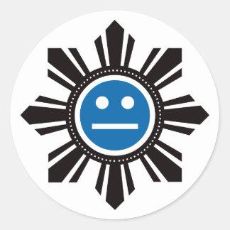 Filipino Sun Face - Blue Stickers