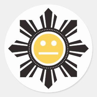 Filipino Sun Face - Yellow Round Sticker
