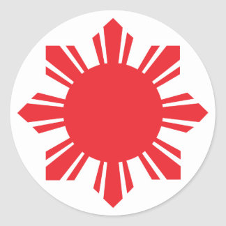 Filipino Sun - Red Classic Round Sticker