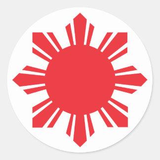 Filipino Sun - Red Round Sticker