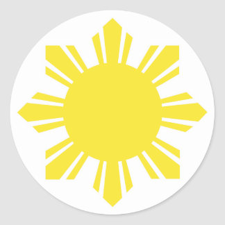 Filipino Sun - Yellow Classic Round Sticker