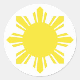 Filipino Sun - Yellow Round Sticker