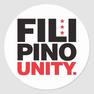 Filipino Unity - Red and Black Classic Round Sticker