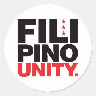Filipino Unity - Red and Black Round Sticker