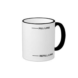 Fill line, refill line ringer coffee mug