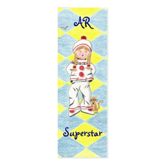 Fille en Pierrot  with background tiny bookmark Pack Of Skinny Business Cards
