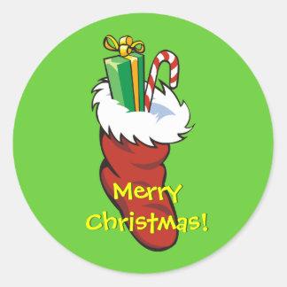 Filled Santa Stocking Round Sticker