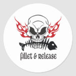 Fillet & Release Skull Classic Round Sticker