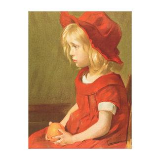 Fillette a l'orange stretched canvas print