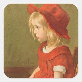 Fillette a l'orange square sticker