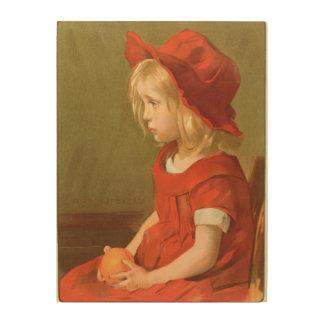 Fillette a l'orange wood prints