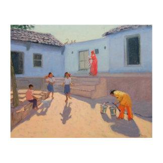 Filling Water Buckets Rajasthan India Wood Print