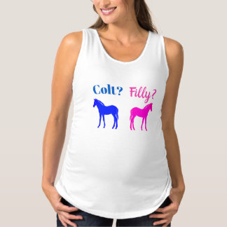Filly Or Colt Western Style Gender Reveal Maternity Tank Top
