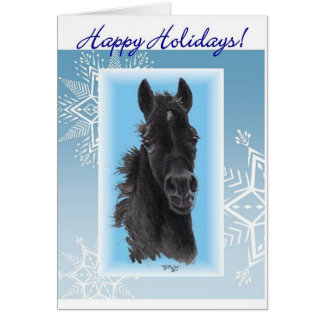 Filly with Snowflakes Christmas Card