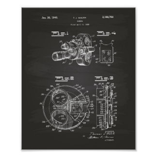 Film Camera 1940 Patent Art - Chalkboard Poster