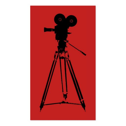 Film Camera Man Red Business Card Templates