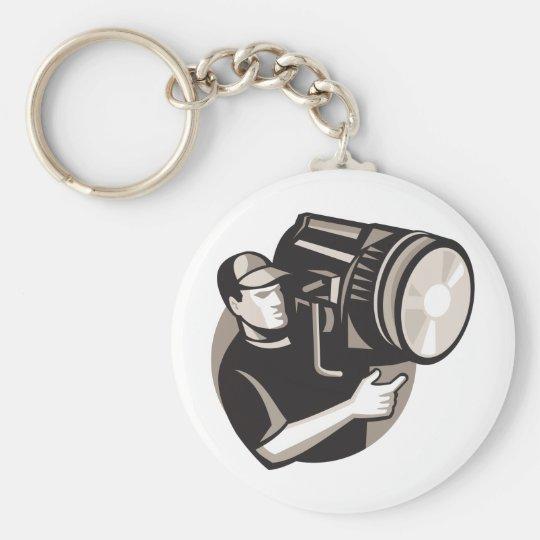film crew with spotlight fresnel light key ring