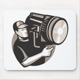 film crew with spotlight fresnel light mouse pad