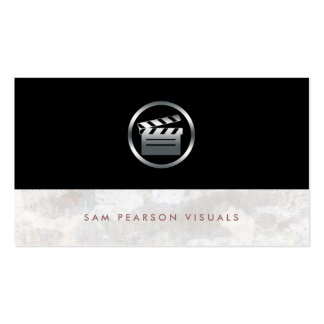Film Director BoldSilver Clapperboard Icon Elegant Business Card