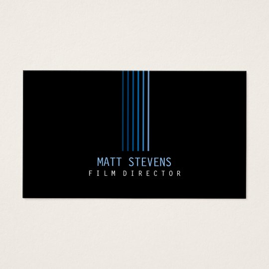Film Director Business Card Blue Beams