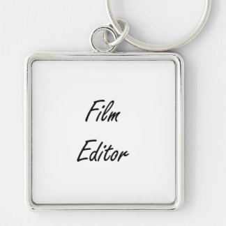 Film Editor Artistic Job Design Silver-Colored Square Key Ring
