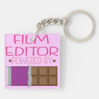 Film Editor Chocolate Gift for Her Double-Sided Square Acrylic Key Ring