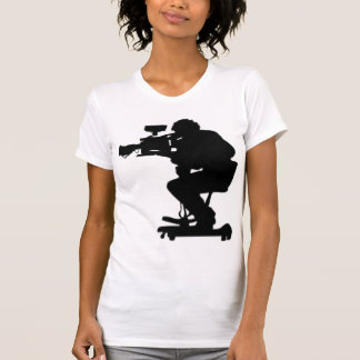 Film Makers Silhouette white v neck womens tshirt