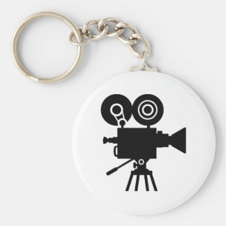 Film movie camera basic round button key ring