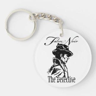 Film Noir Detective Single-Sided Round Acrylic Key Ring
