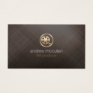 Film producer business cards business card printing zazzle uk film producer film reel icon brushed gold metal business card colourmoves Image collections