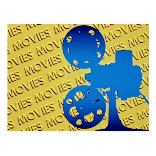 "Film projector over yellow ""movies"" background postcard"