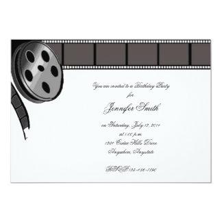 "Film Reel in Black and White Party Invitation 5"" X 7"" Invitation Card"