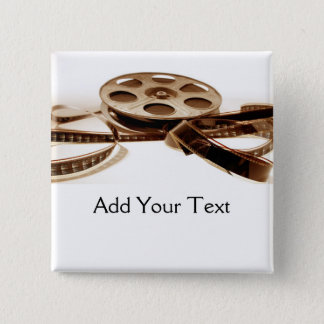Film Reel in Sepia Tones Background 15 Cm Square Badge