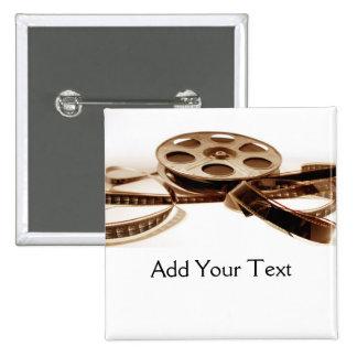 Film Reel in Sepia Tones Background 15 Cm Square Badge
