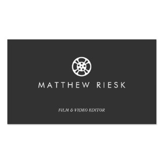 Film Reel Logo, Film and Video Editor Black Pack Of Standard Business Cards