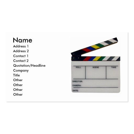 Film slate color clapboard movie business card