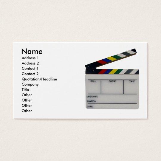 Film slate colour clapboard movie business card