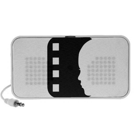 Filmstrip with side view of a woman portable speakers