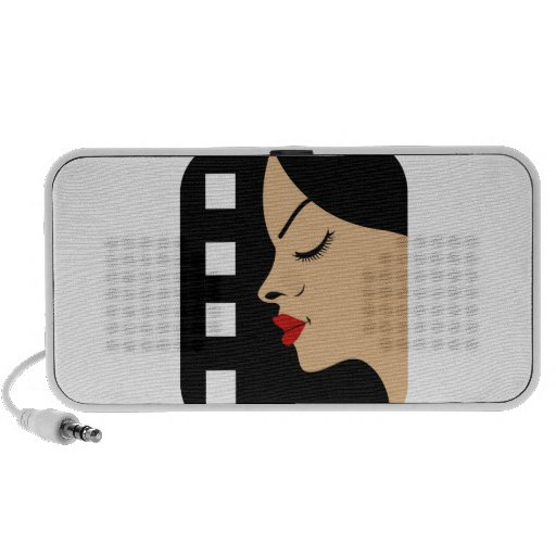 Filmstrip with side view of a woman speaker system