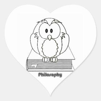 Filosofia Coruja com livro Philosophy Owl on book Heart Sticker